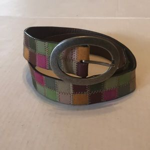 Fossil patchwork multi color leather belt small
